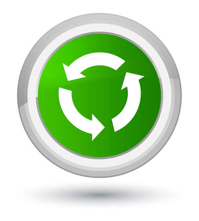 improving: Refresh icon isolated on prime green round button abstract illustration Stock Photo