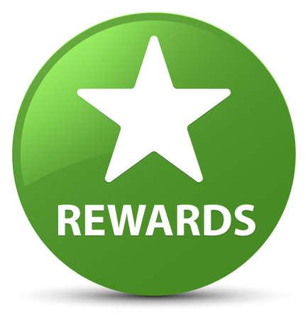 Recompensas (icono de la estrella) aislado en la ilustración abstracta del botón redondo verde suave Foto de archivo