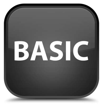 Basic isolated on special black square button abstract illustration