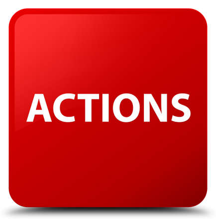 Actions isolated on red square button abstract illustration