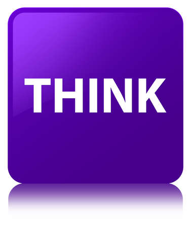 Think isolated on purple square button reflected abstract illustration Banco de Imagens