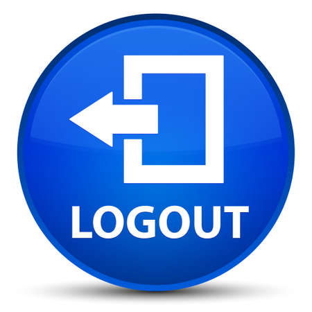exit sign icon: Logout isolated on special blue round button abstract illustration