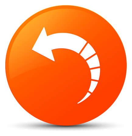 Back arrow icon isolated on orange round button abstract illustration