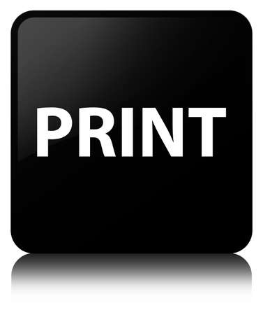 Print isolated on black square button reflected abstract illustration