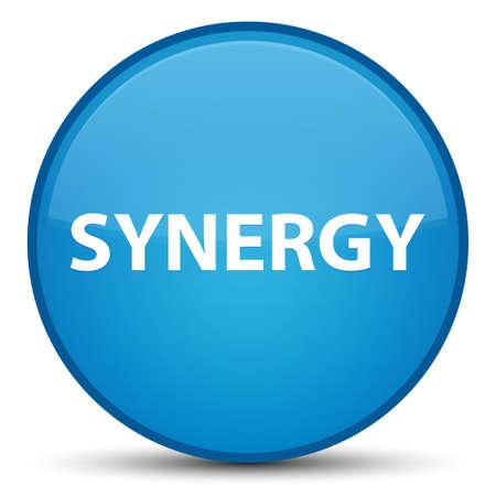 Synergie op speciale cyaan blauwe ronde knoop abstracte illustratie die wordt geïsoleerd Stockfoto
