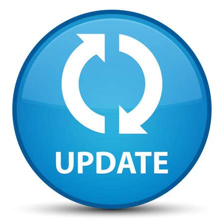 Aktualisieren Sie lokalisiert auf spezieller cyan-blauer runder Knopfzusammenfassungsillustration Standard-Bild