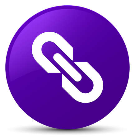 Link icon isolated on purple round button abstract illustration