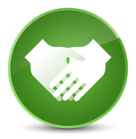 Handshake icon isolated on elegant soft green round button abstract illustration