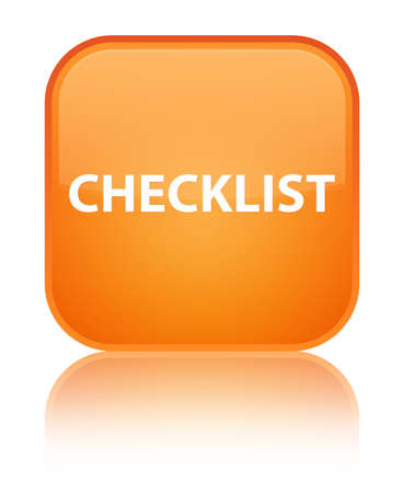 Checklist isolated on special orange square button reflected abstract illustration Stock Photo