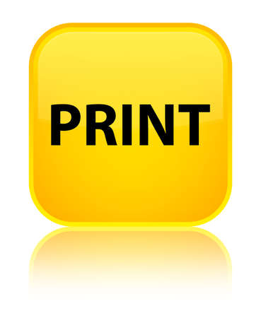 Print isolated on special yellow square button reflected abstract illustration Stock Photo