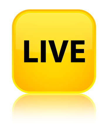 Live isolated on special yellow square button reflected abstract illustration