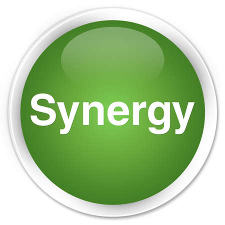 Synergy isolated on premium soft green round button abstract illustration