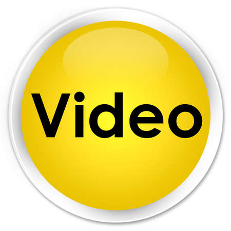 Video isolated on premium yellow round button abstract illustration