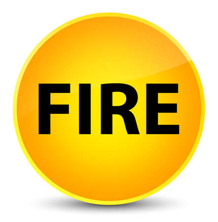 Fire isolated on elegant yellow round button abstract illustration Stock Photo