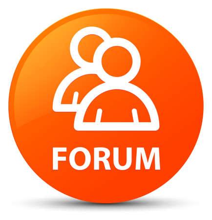 Forum (group icon) isolated on orange round button abstract illustration Stock Photo