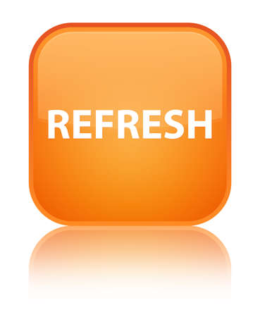 Refresh isolated on special orange square button reflected abstract illustration