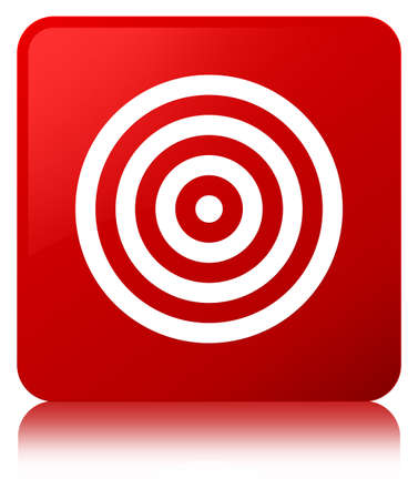 Target icon isolated on red square button reflected abstract illustration