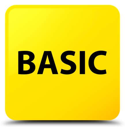 základní: Basic isolated on yellow square button abstract illustration Reklamní fotografie