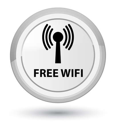 Free wifi (wlan network) isolated on prime white round button abstract illustration