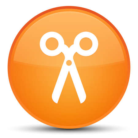 Scissors icon isolated on special orange round button abstract illustration