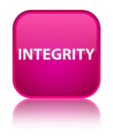 Integrity isolated on special pink square button reflected abstract illustration