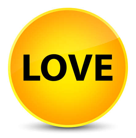Love isolated on elegant yellow round button abstract illustration