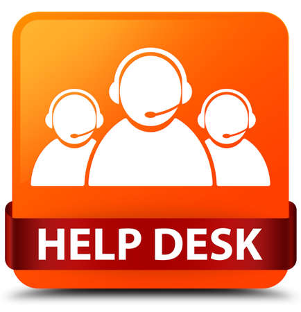 Help desk (customer care team icon) isolated on orange square button with red ribbon in middle abstract illustration