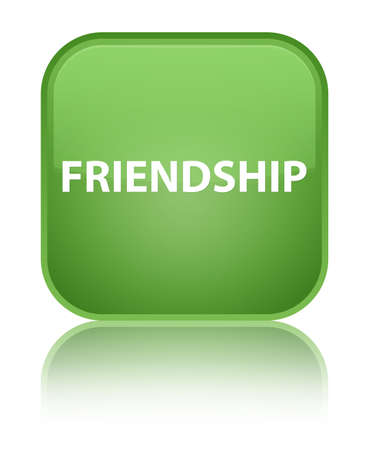 Friendship isolated on special soft green square button reflected abstract illustration