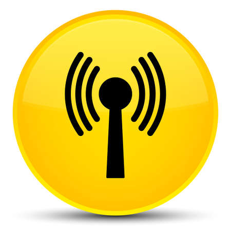 Wlan network icon isolated on special yellow round button abstract illustration Stock Photo