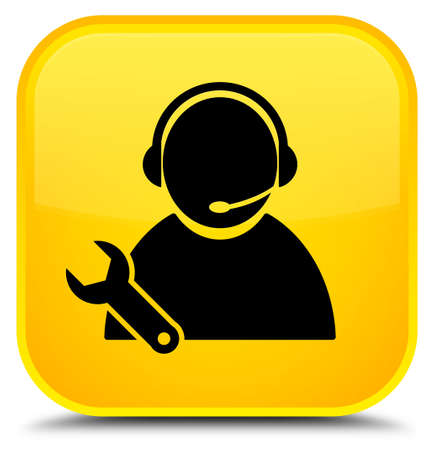 Tech support icon isolated on special yellow square button abstract illustration Stock Photo
