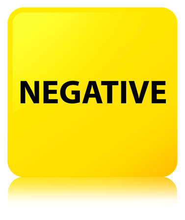 Negative isolated on yellow square button reflected abstract illustration