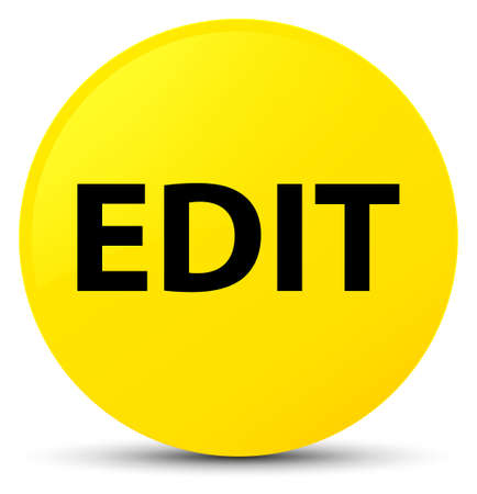 Edit isolated on yellow round button abstract illustration Stock Photo