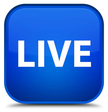 Live isolated on special blue square button abstract illustration