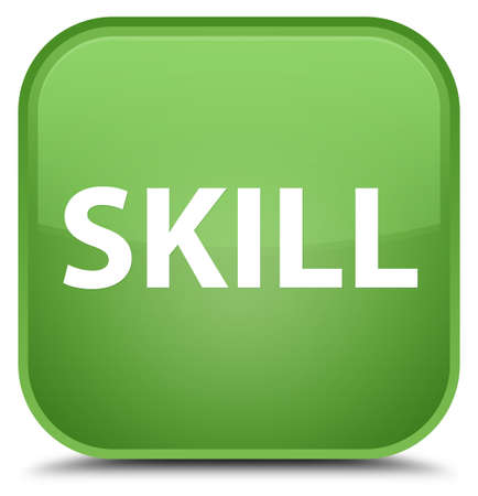 Skill isolated on special soft green square button abstract illustration