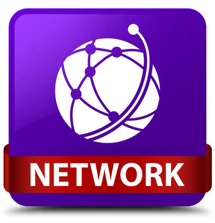 Network (global network icon) isolated on purple square button with red ribbon in middle abstract illustration