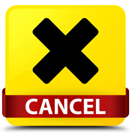 Cancel isolated on yellow square button with red ribbon in middle abstract illustration
