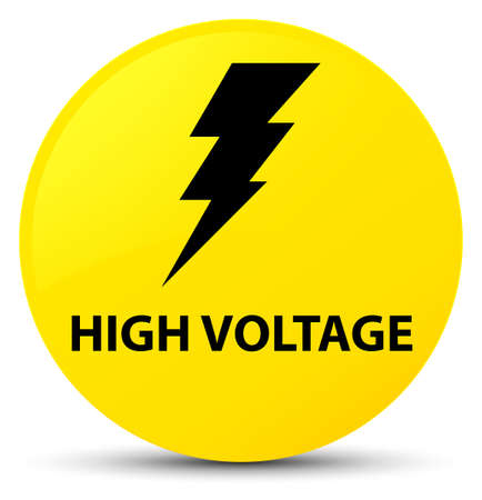 High voltage (electricity icon) isolated on yellow round button abstract illustration