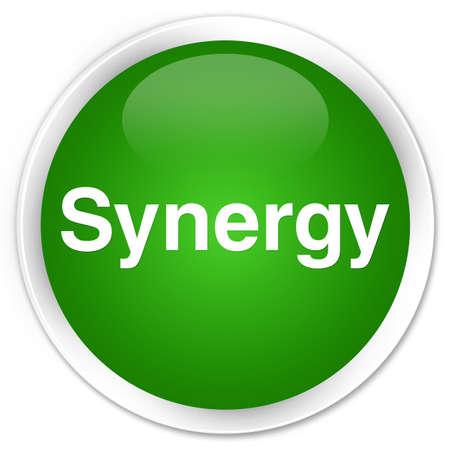 Synergie op abstracte groene illustratie die van de premie groene ronde knoop wordt geïsoleerd