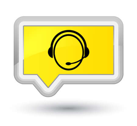 Customer care service icon isolated on prime yellow banner button abstract illustration