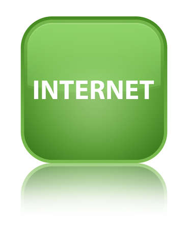Internet isolated on special soft green square button reflected abstract illustration Stock Photo