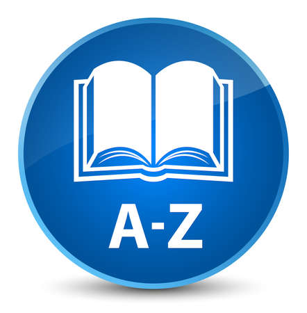 A-Z (book icon) isolated on elegant blue round button abstract illustration Stock Photo