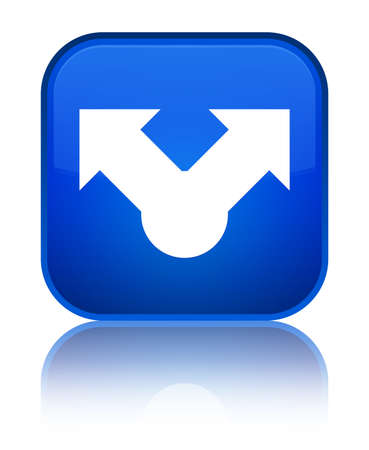 Share icon isolated on special blue square button reflected abstract illustration Stock Photo