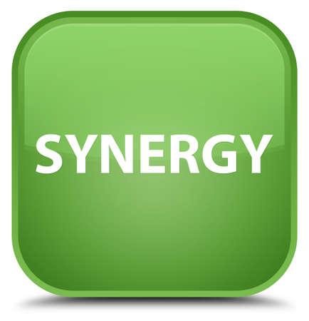 Synergie op speciale zachte groene vierkante knoop abstracte illustratie die wordt geïsoleerd