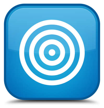 dartboard: Target icon isolated on special cyan blue square button abstract illustration