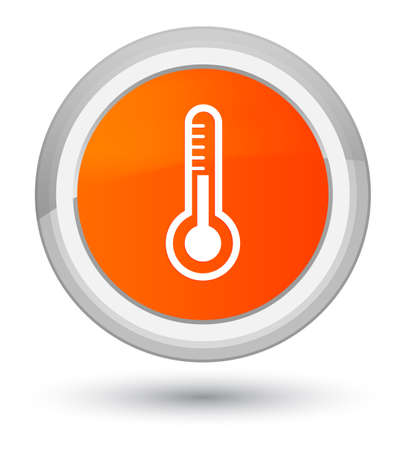 Thermometer icon isolated on prime orange round button abstract illustration