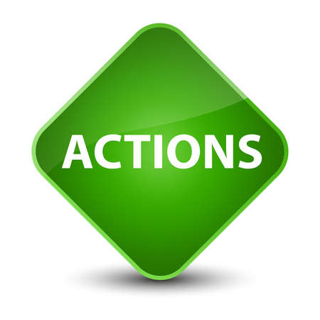 Actions isolated on elegant green diamond button abstract illustration Stok Fotoğraf