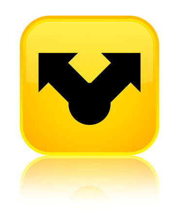 Share icon isolated on special yellow square button reflected abstract illustration