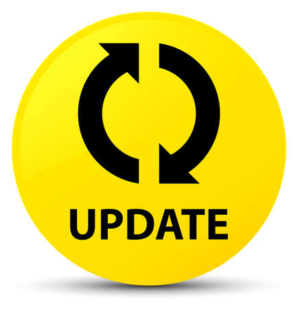Update isolated on yellow round button abstract illustration Foto de archivo
