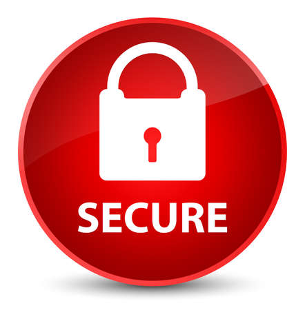 Secure (padlock icon) isolated on elegant red round button abstract illustration