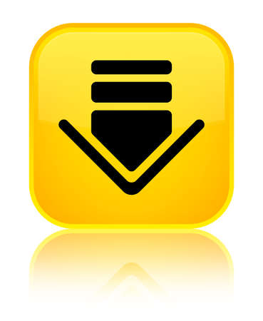 Download icon isolated on special yellow square button reflected abstract illustration Stock Photo